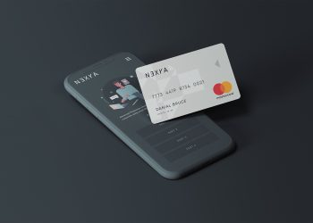 Cell Phone with Credit Card Free Mockup