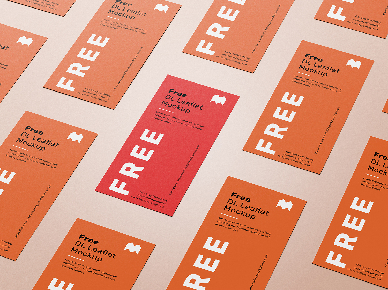DL Leaflet Grid Free Mockup