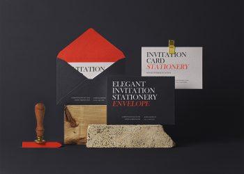 Elegant PSD Invitation Free Mockup Set