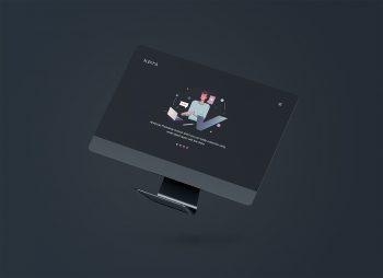 Floating iMac PSD Mockup