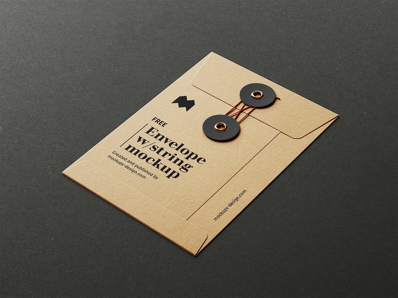 Envelope with String Free Mockup