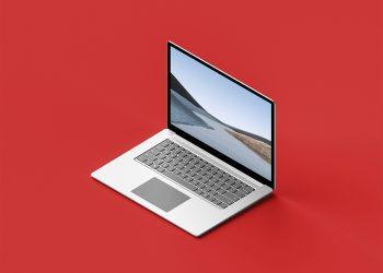 Free Isometric Surface Laptop 3 Mockup