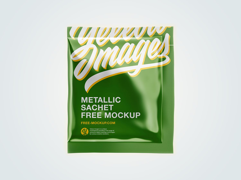 Free Metallic Sachet Mockup