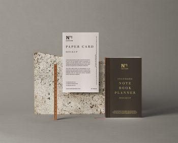 Free Notebook Stationery Mockup