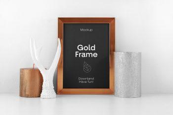 Gold Frame PSD Free Mockup