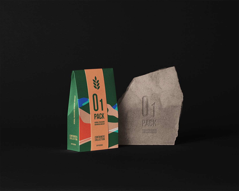 Herbal Paper Bag Packaging Free Mockup