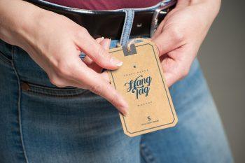 Kraft Paper Tag Free Mockup in Hand