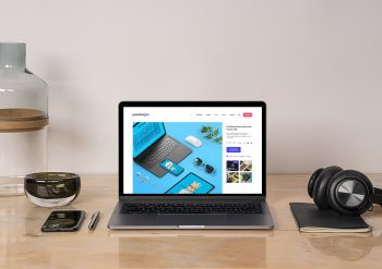 MacBook Pro Free Mockup on a Desk Workspace Scene