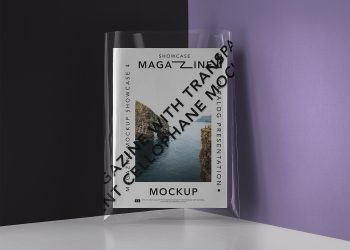 Magazine with a Transparent Cover Free Mockup