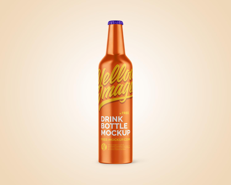 Metallic Drink Bottle with Holder Free Mockup