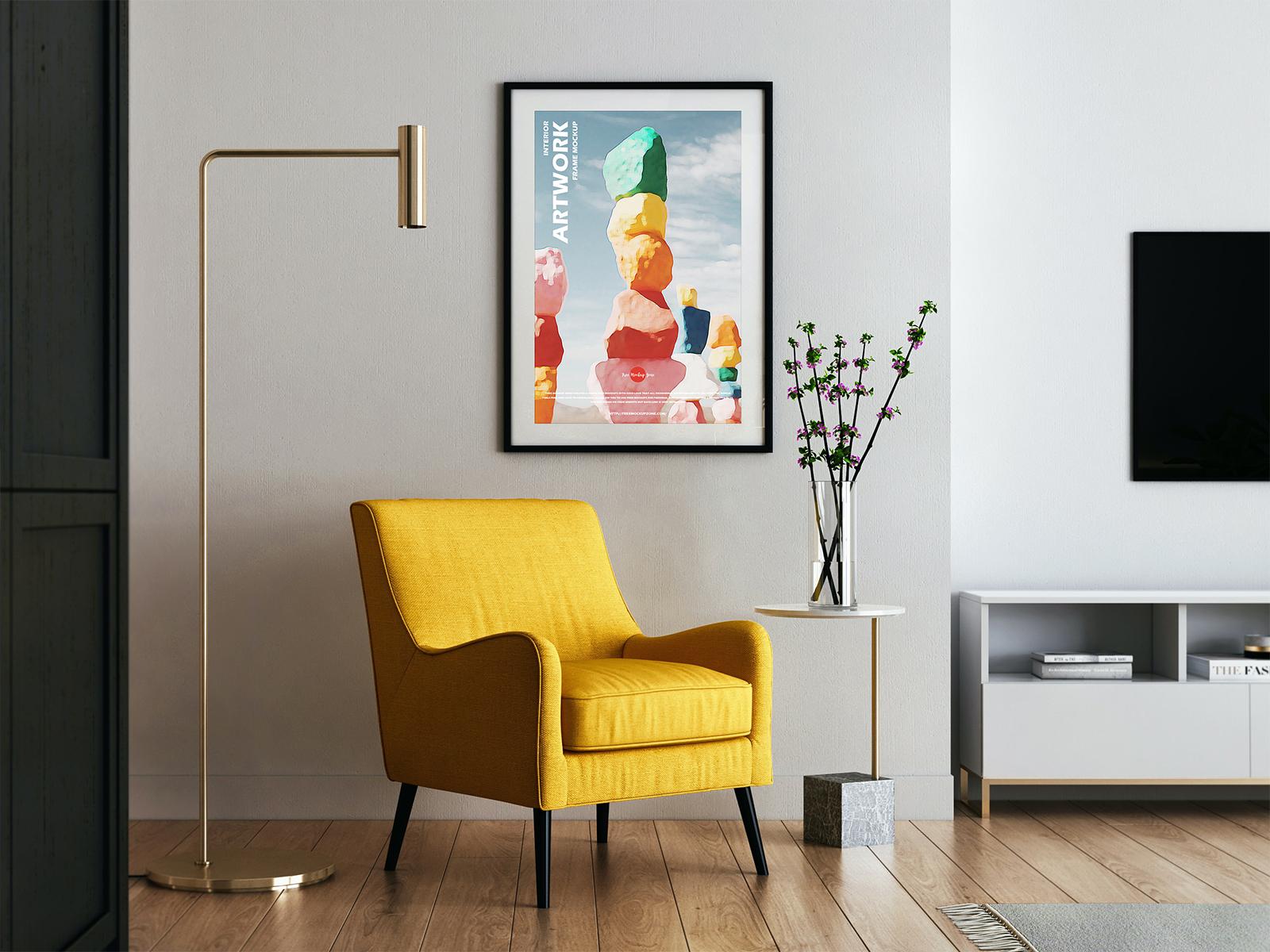 Modern Interior Poster Frame Free Mockup