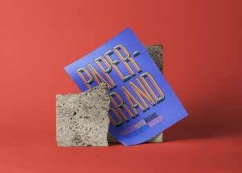 PSD Glossy Paper Brand Free Mockup