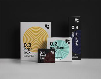 Packaging PSD Box Free Mockup Set