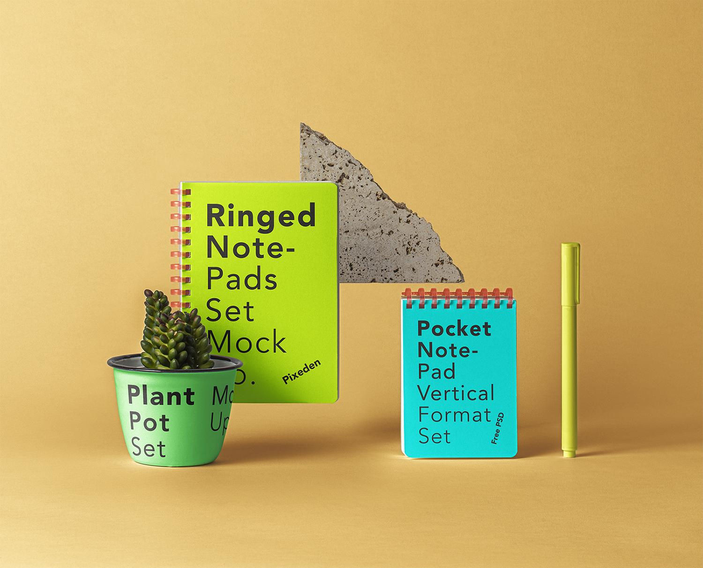 Ringed PSD Notepad Set Free Mockup