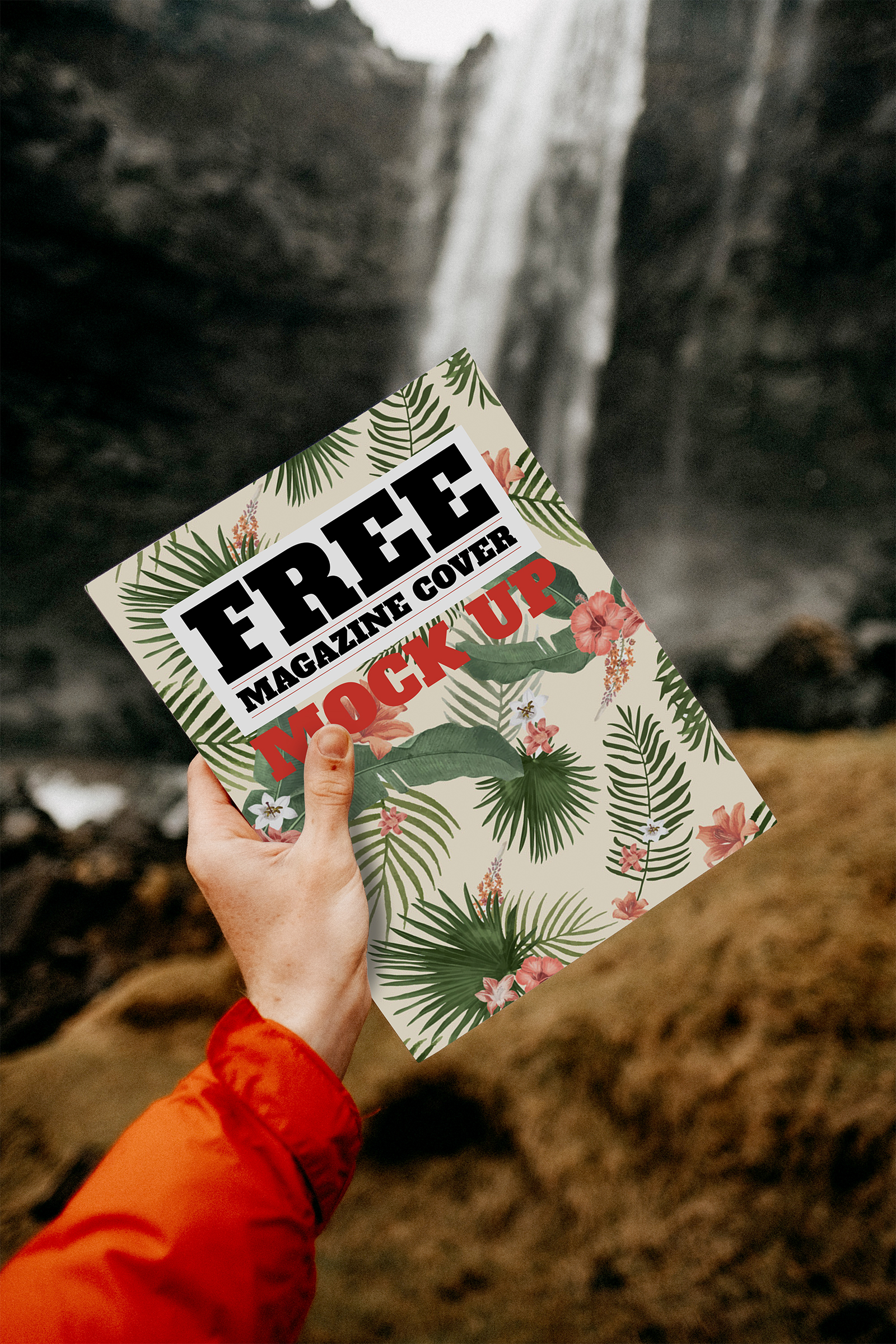 Travel Magazine Cover Free Mockup in Hand