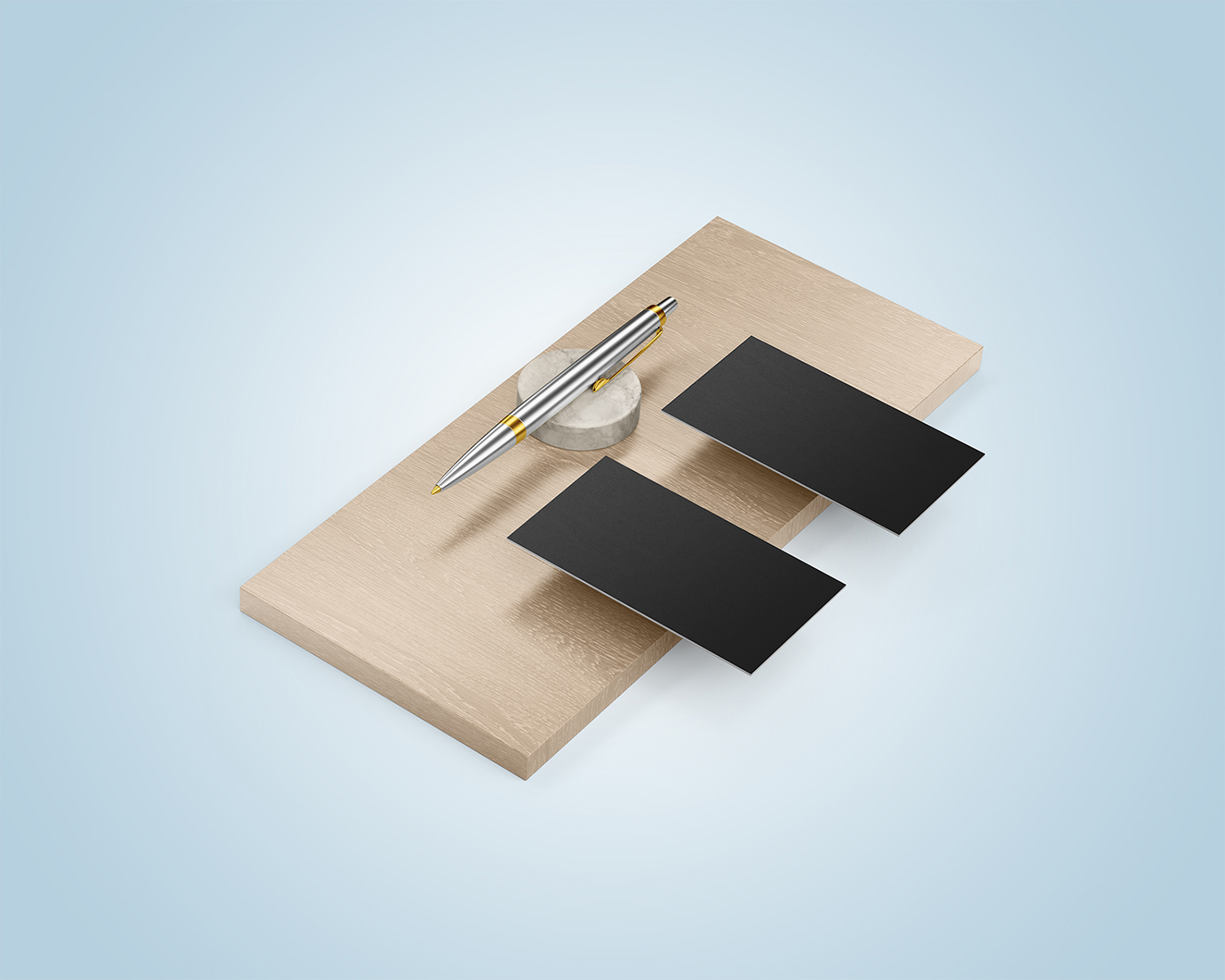 Two Business Cards with Pen Free Mockups