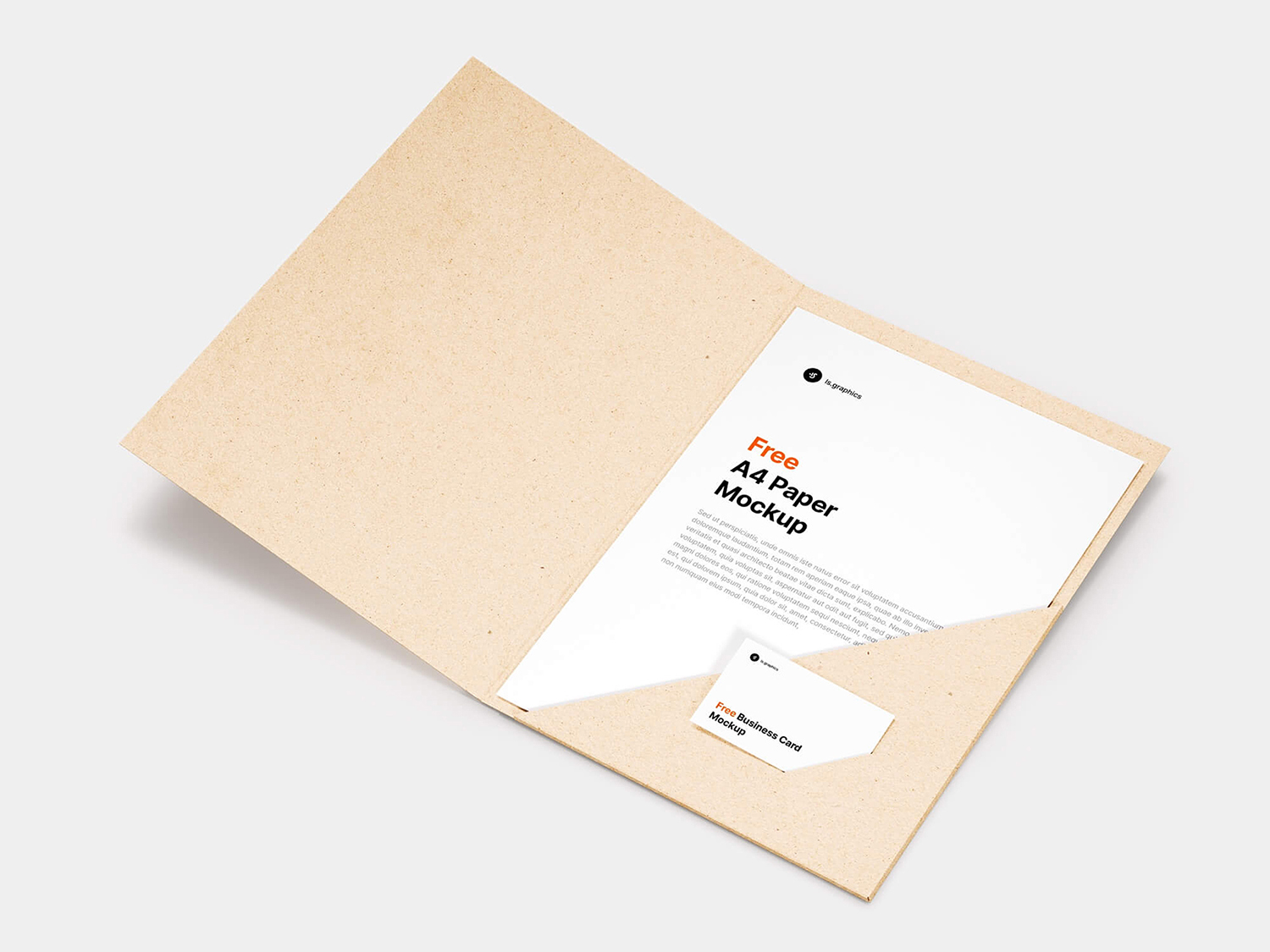 Brand Folder with A4 Paper Free Mockup