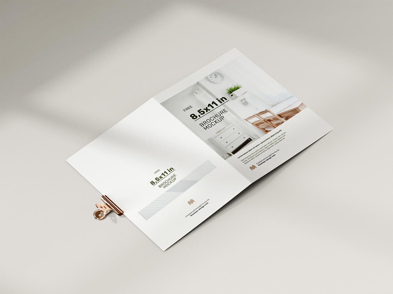 Folded 8.5 x 11 in Brochure Free Mockup
