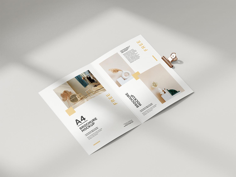 Folded A4 Brochure Free Mockup