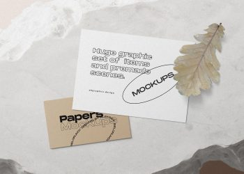 Free Invitation Card and Business Card Mockups