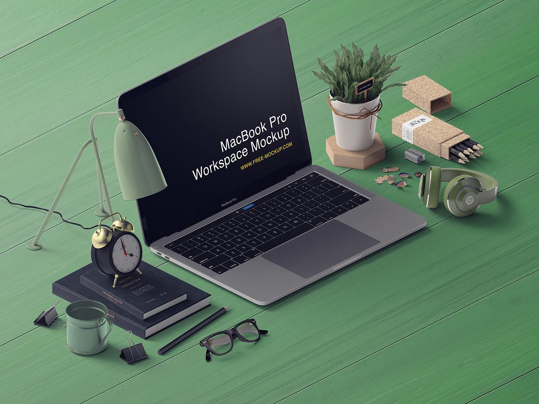 Free MacBook Pro Mockup Workspace Scene