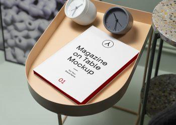 Free Magazine on Table Mockup