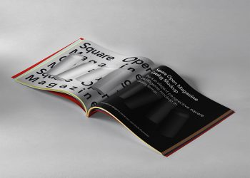 Free Open Square Magazine Mockup