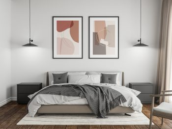 Free Poster Mockup in the Master Bedroom