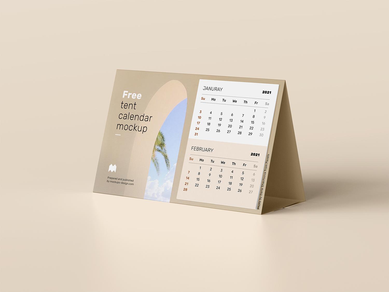 Free Tent Calendar Mockup