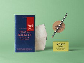 Free Travel Booklet Mockup Scene