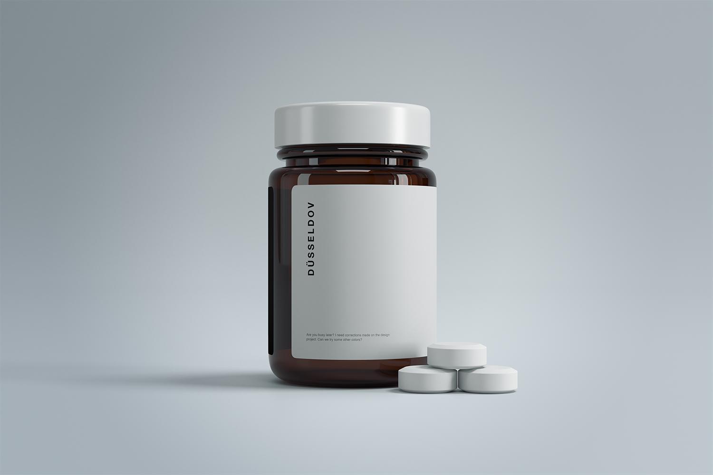 Medicine Bottle with Pills Free Mockup