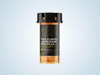 Plastic Orange Jar Free Mockup with Capsules