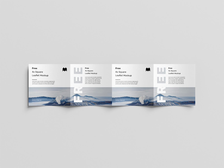 Square 4-Fold Leaflet Free Mockup