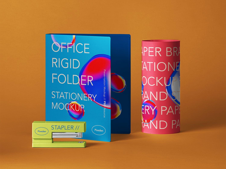 Stationery Brand Folder Free Mockup Scene
