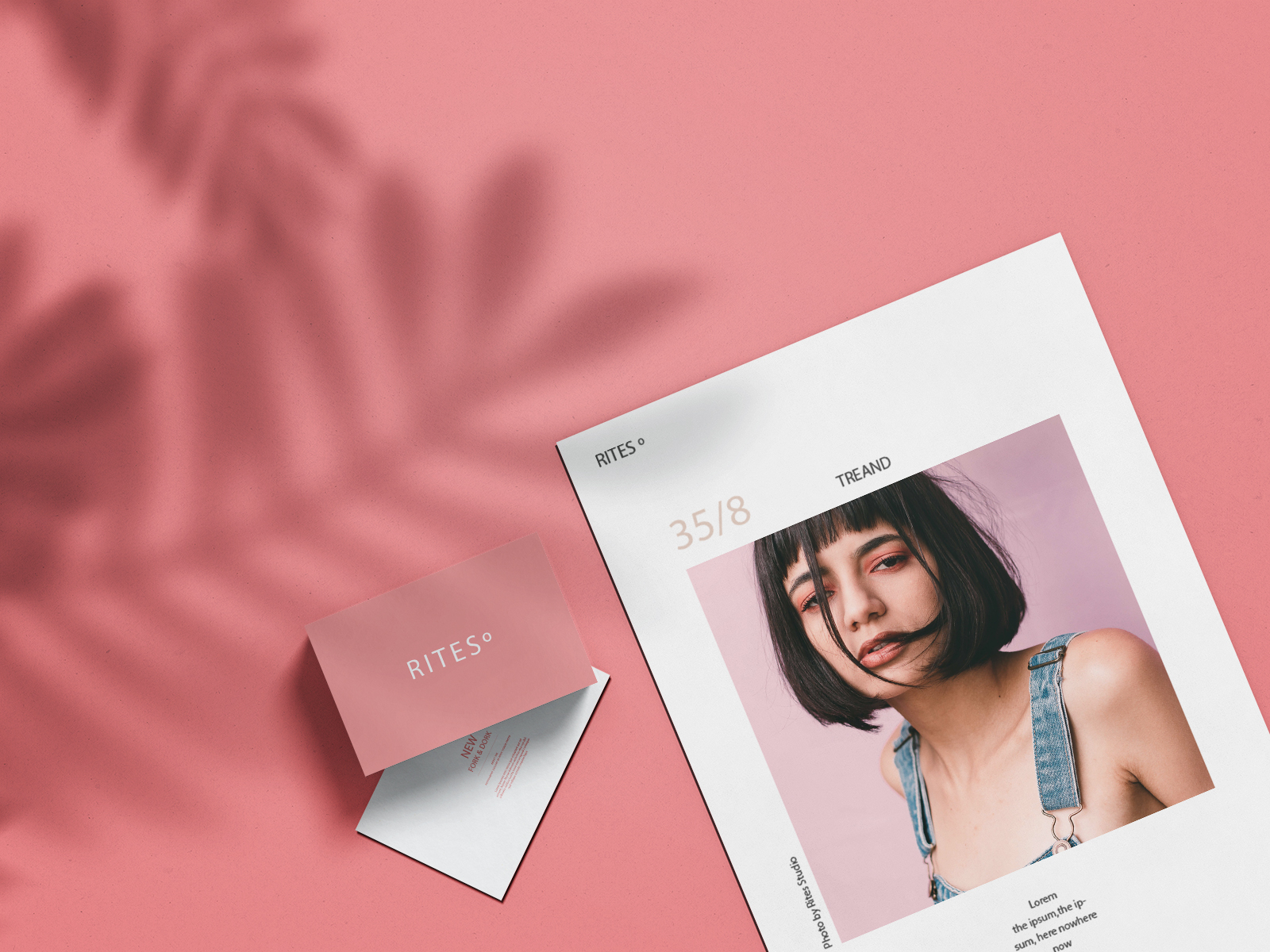 A4 Brand Paper with Business Card Free Mockup