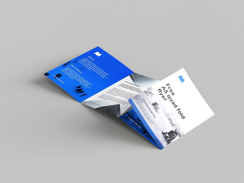 A5 Quad-Fold Flyer Free Mockup