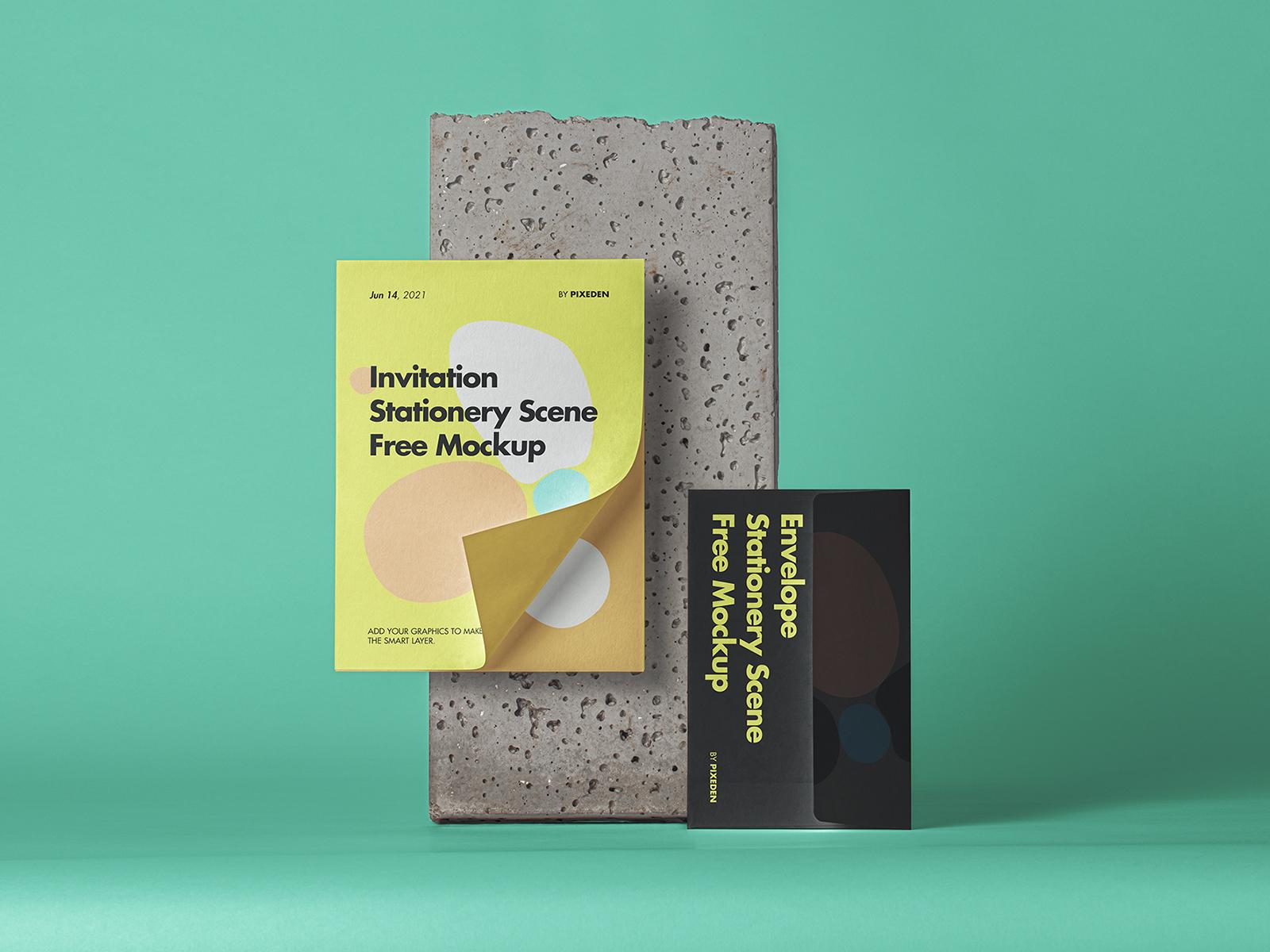 Envelope Stationery PSD Free Mockup