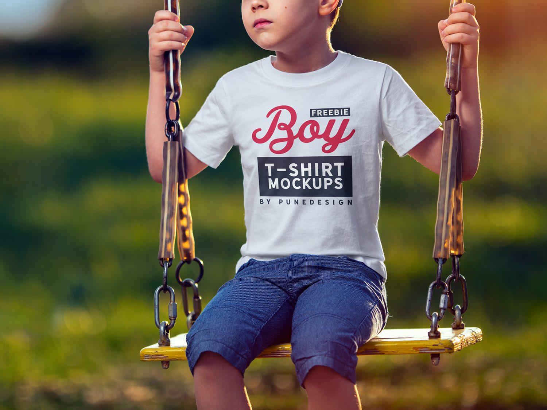 Free Boy T-Shirt Mockup
