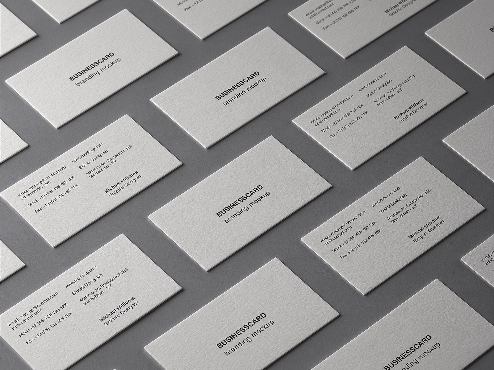 Free Business Card Grid Branding Mockup