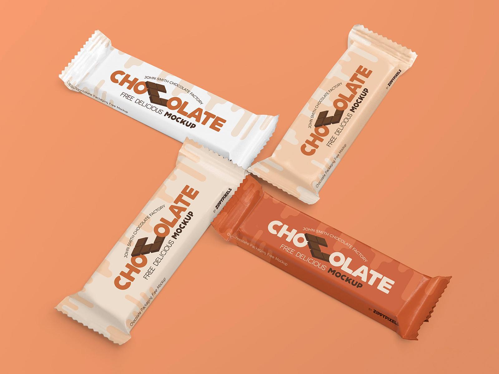 Free Chocolate Bar Packaging Mockup