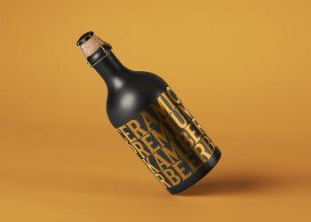 Free Dark Ceramic Bottle PSD Mockup
