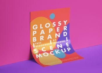 Free Glossy Paper Branding Mockup