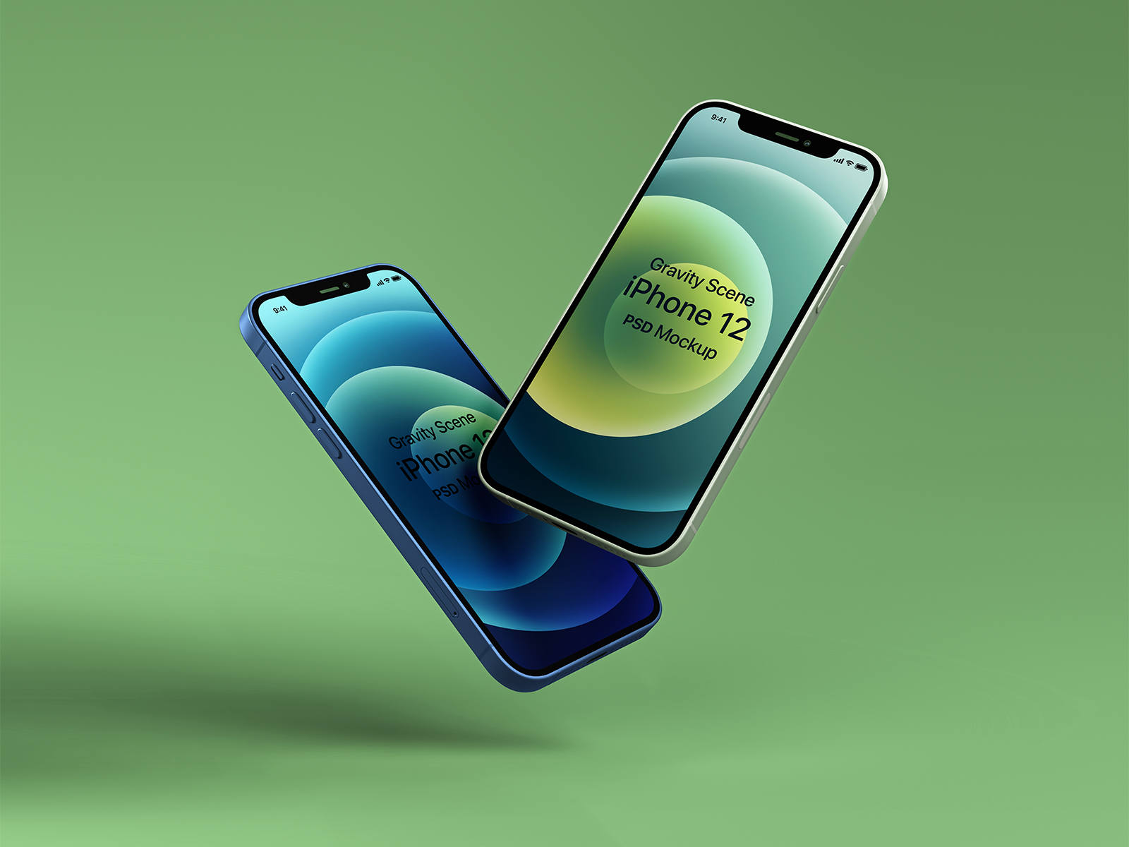 Free Gravity iPhone 12 Mockup Set