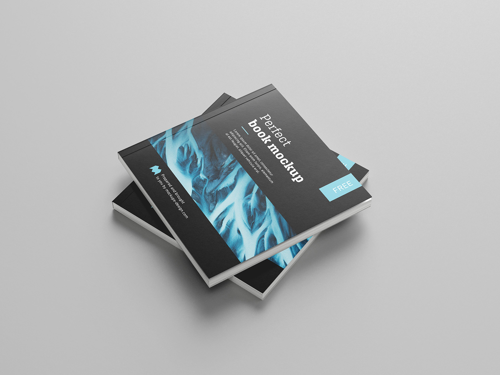 Free Square Book Catalog Mockup