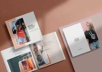 Free Square Magazine Mockup Set