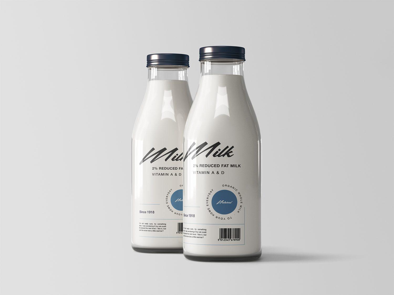 Free Two Glass Milk Bottles Mockup