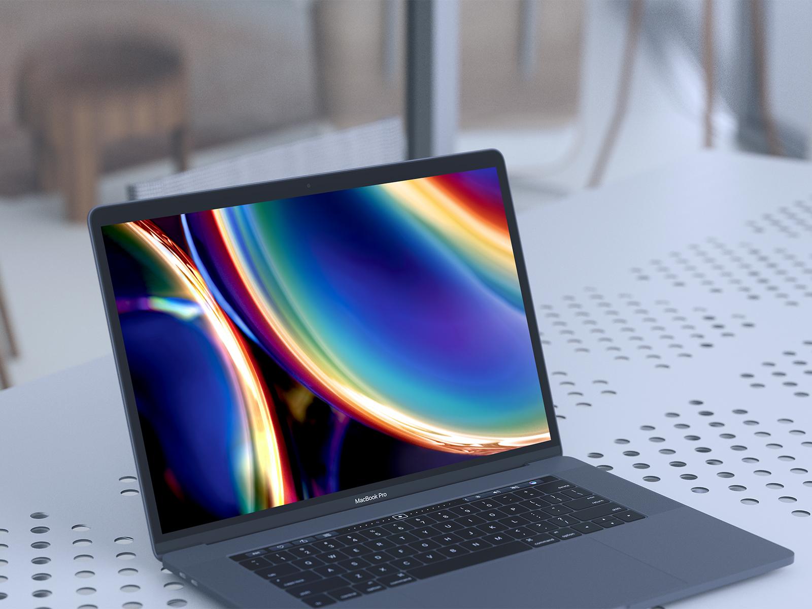MacBook Pro UI/UX Presentation Free Mockup