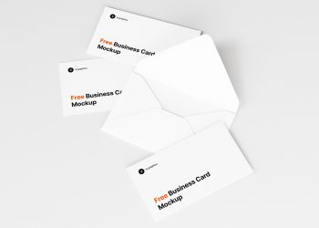 Open Envelope and Business Cards Free Mockup