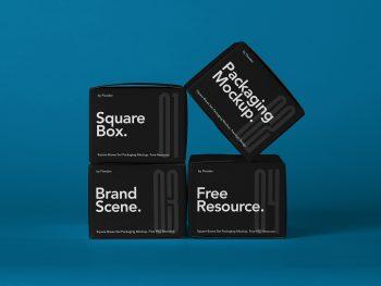 Square Boxes Packaging Free Mockup Set