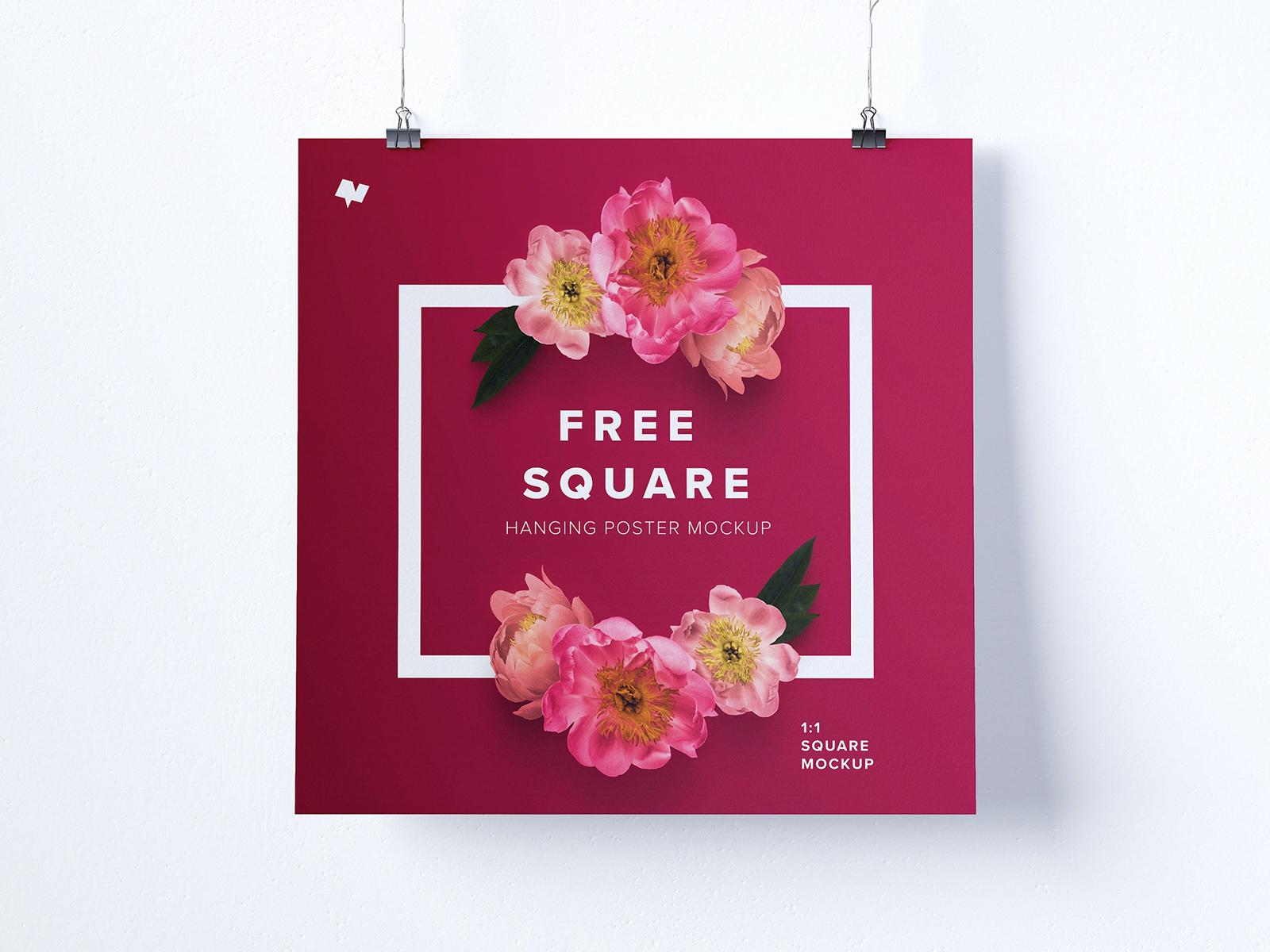 Square Hanging Poster Free Mockup